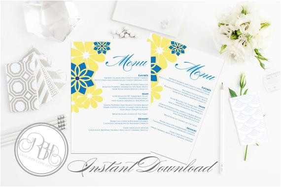 hawaiian menu wedding template instant