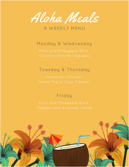 Hawaiian Menu Template Menu Templates Canva