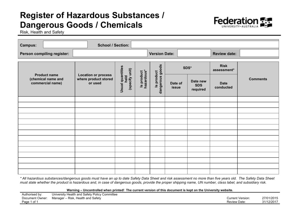 hazardous substance register template