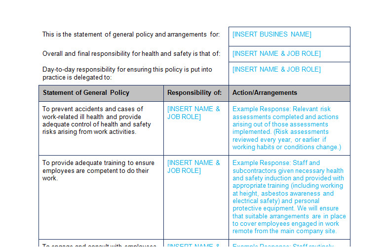 Health and Safety Review Template Hr Policy forms Handbooks Page 7 Of 8 Bizorb