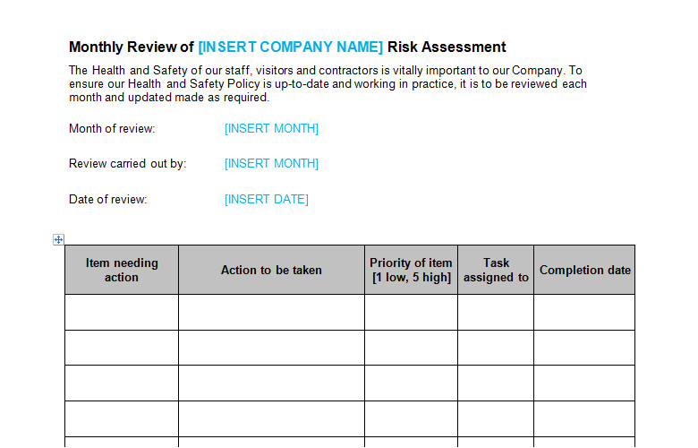 risk assessment monthly review template