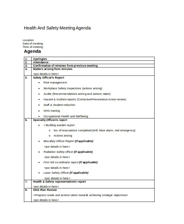 safety agenda templates