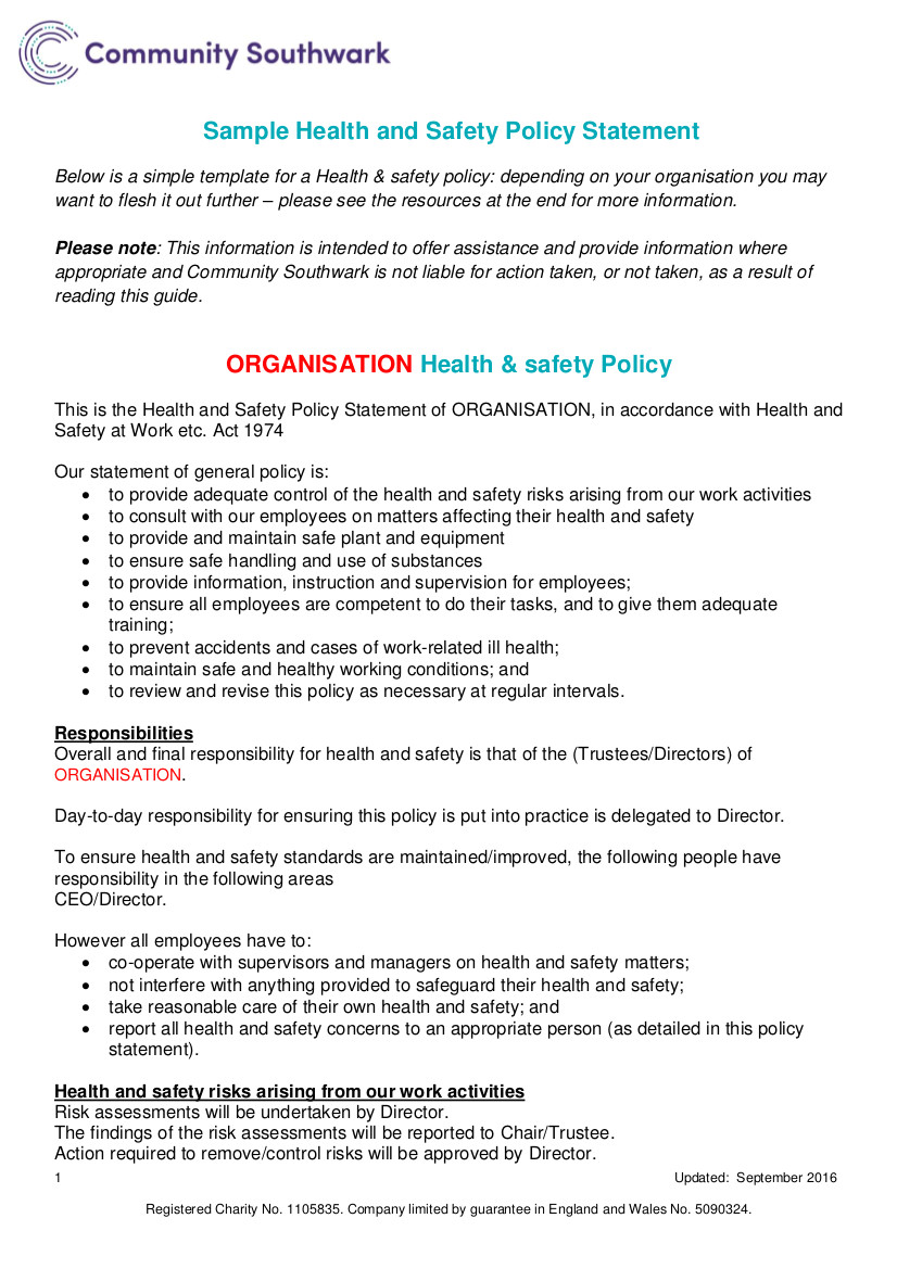 health safety policy examples