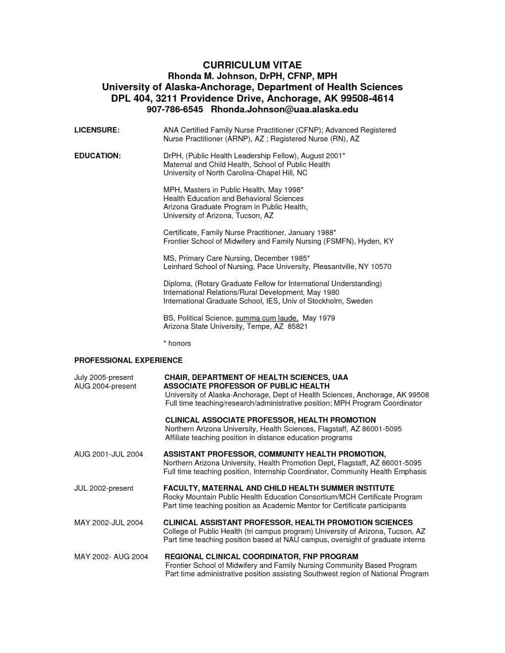 health promotion resume sample