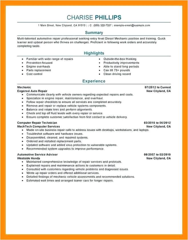 heavy duty mechanic resume sample