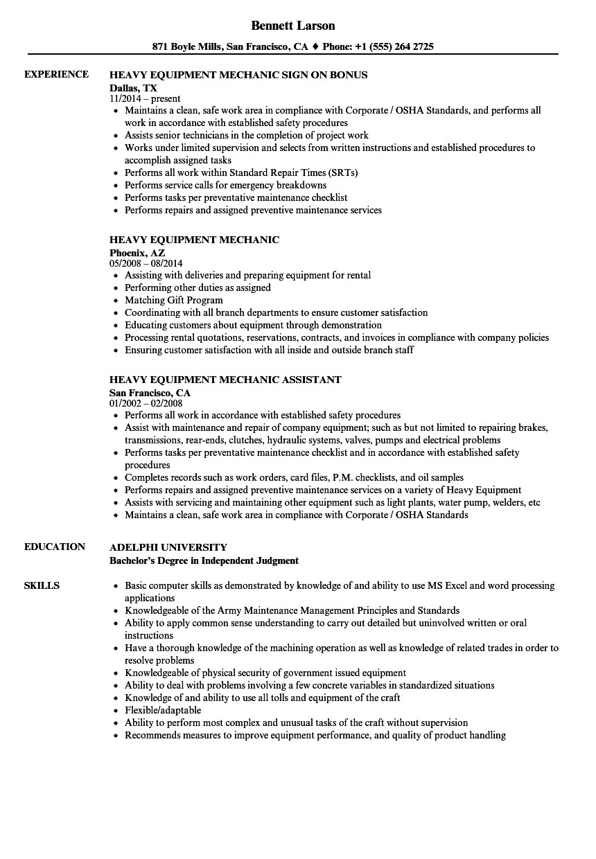 heavy equipment mechanic resume sample