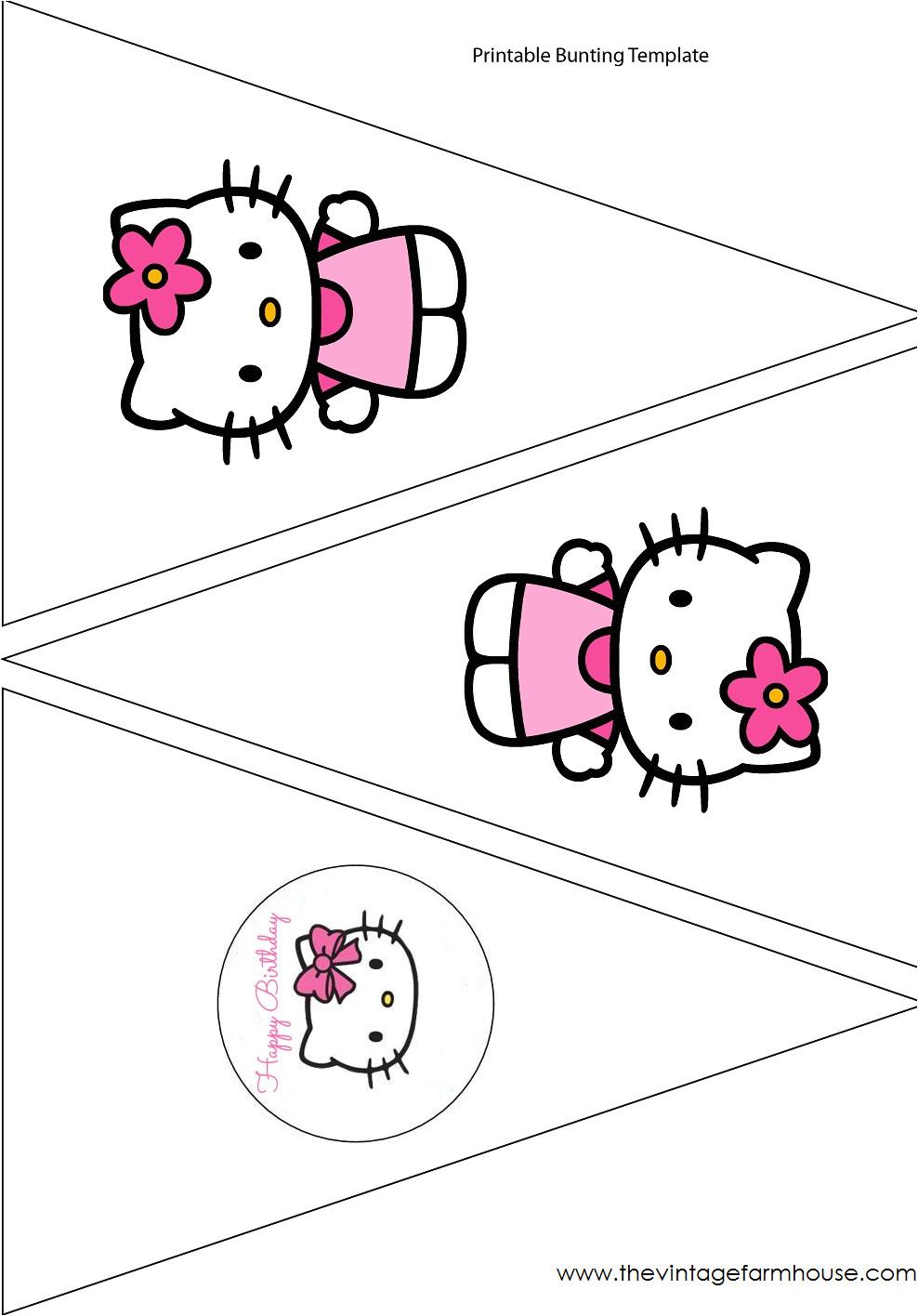 Hello Kitty Birthday Banner Template Free the Vintage Farmhouse Hello Kitty Party Free Printables