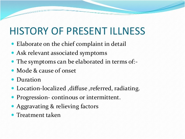 History Of Present Illness Template Case History