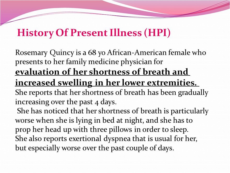 history of present illness template
