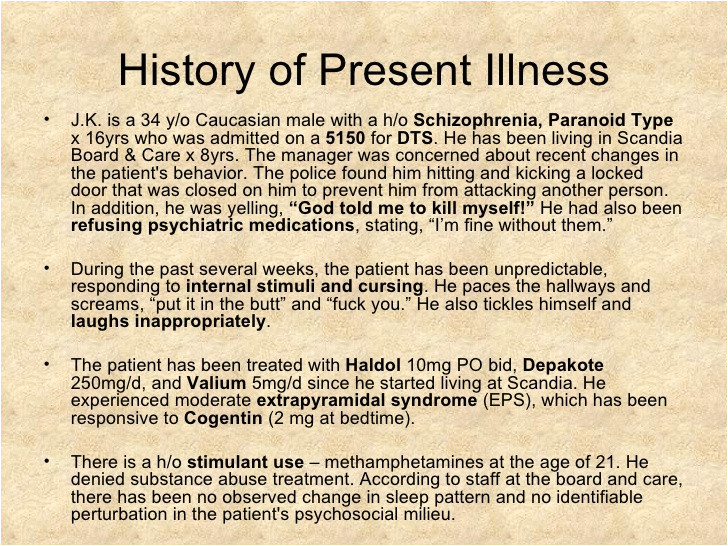 History Of Present Illness Template Schizophrenia Psychiatry Case Presentation