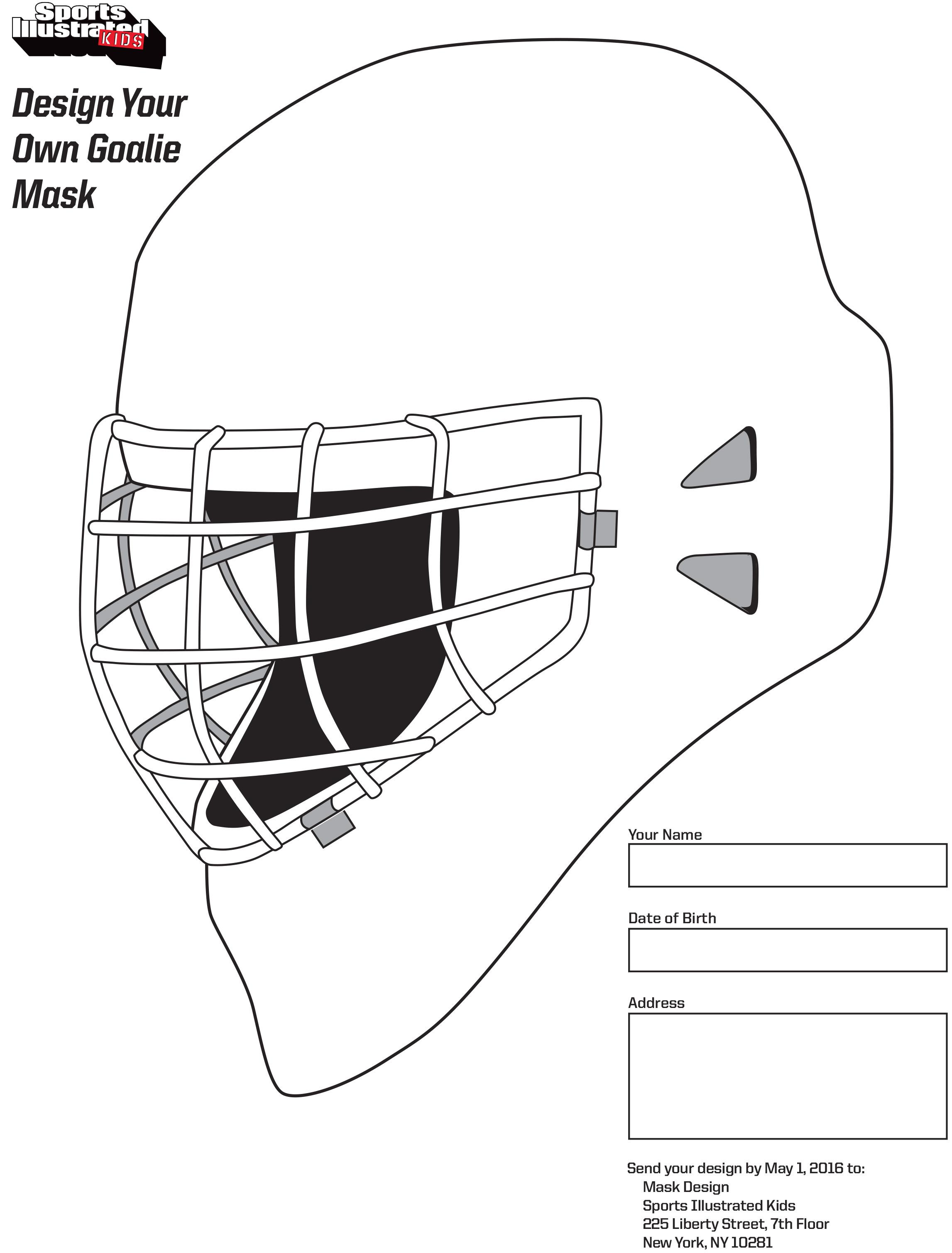 Hockey Goalie Mask Template Design A Goalie Mask Si Kids