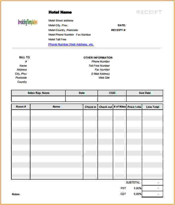 10 hotel receipt template