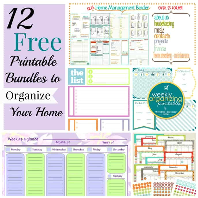 12 free printable bundles organize home