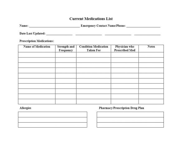 Home Medication Review Template 58 Medication List Templates for Any Patient Word Excel