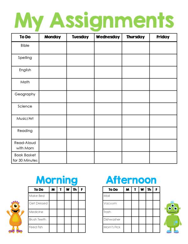 homeschool assignment chore sheet