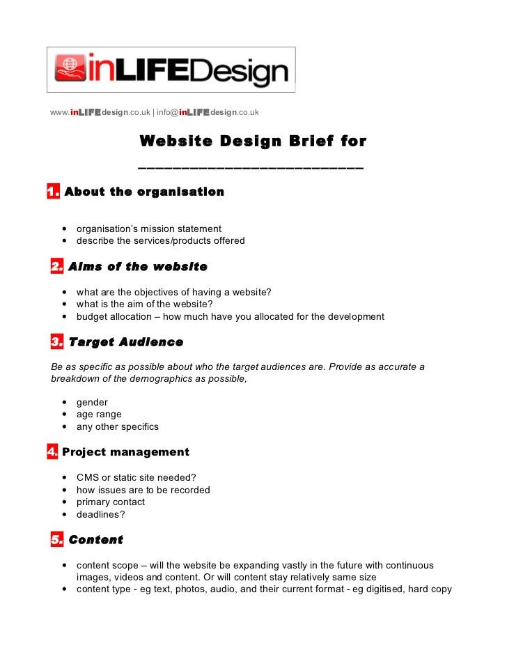 web design brief template