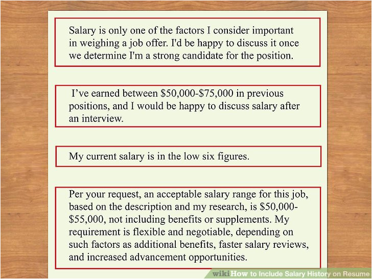include salary history on resume