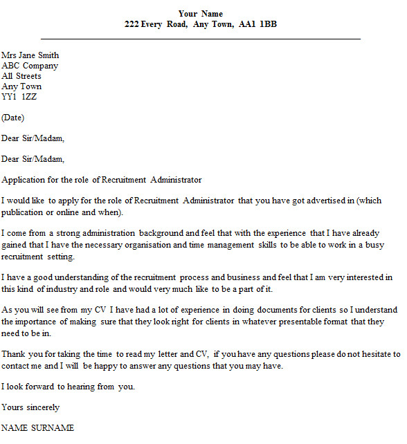 recruitment administrator cover letter example