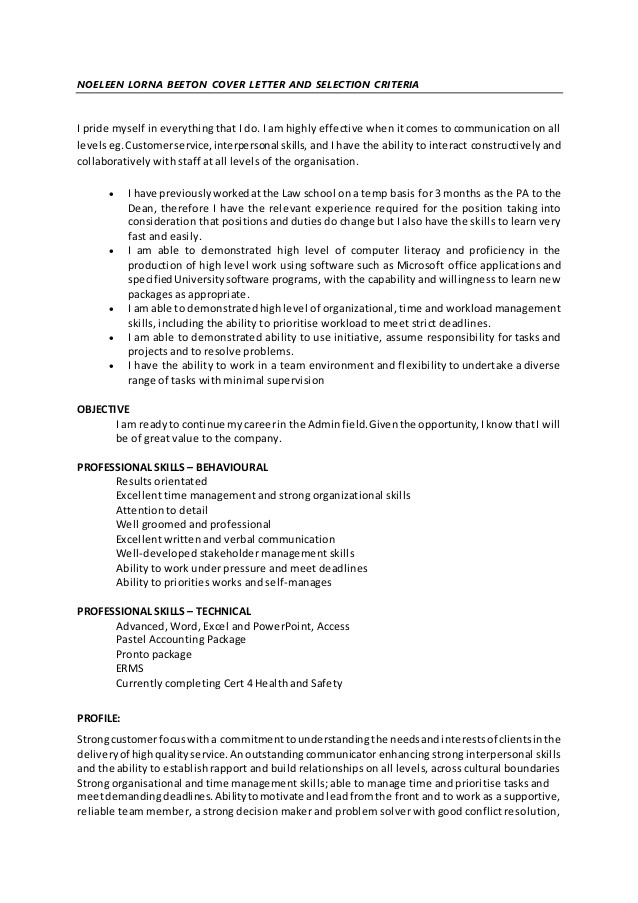 noeleen lorna beeton cover letter and selection criteria 01 april