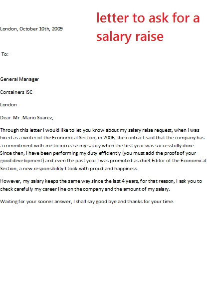 How to ask for Salary In Cover Letter Letter to ask for A Salary Raise