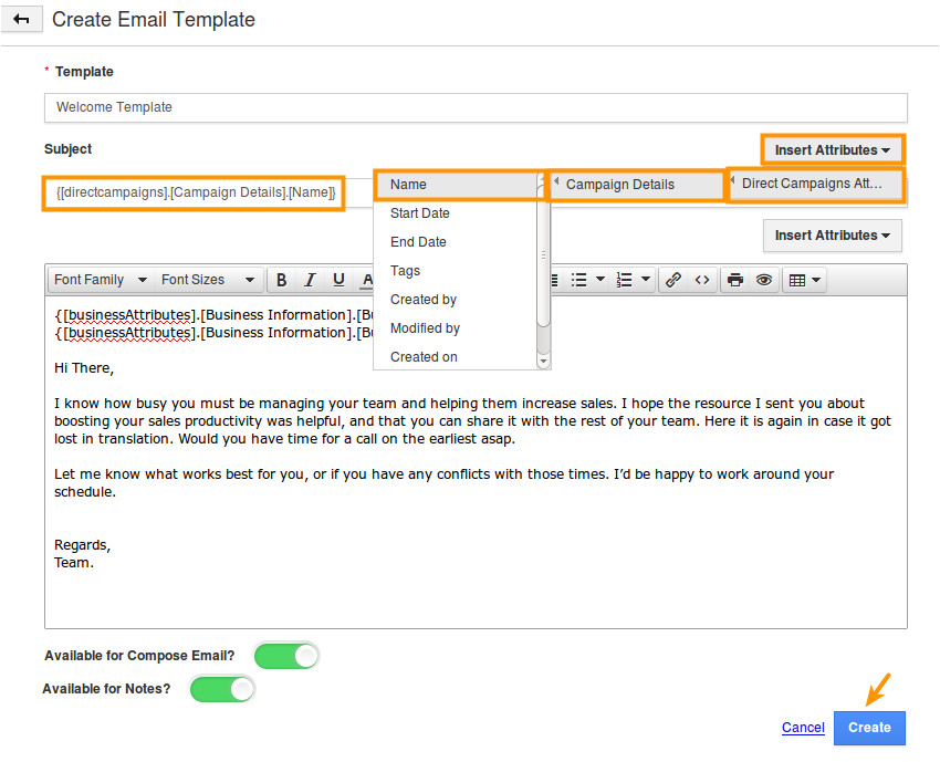 how do i create email templates in direct campaigns app