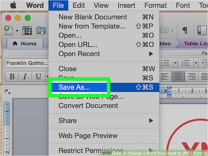 change a word document to jpeg format