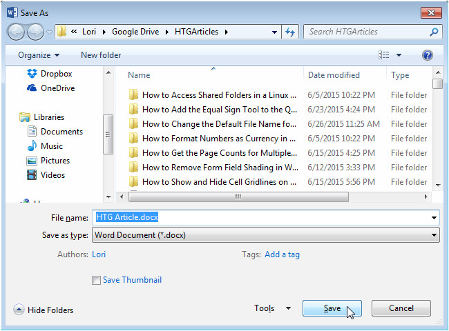 how to change the default file name used when saving word documents