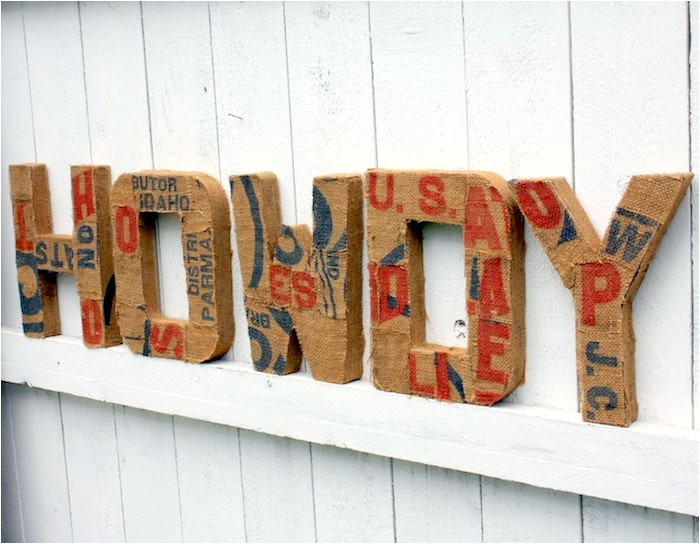 burlap covered paper mache letters