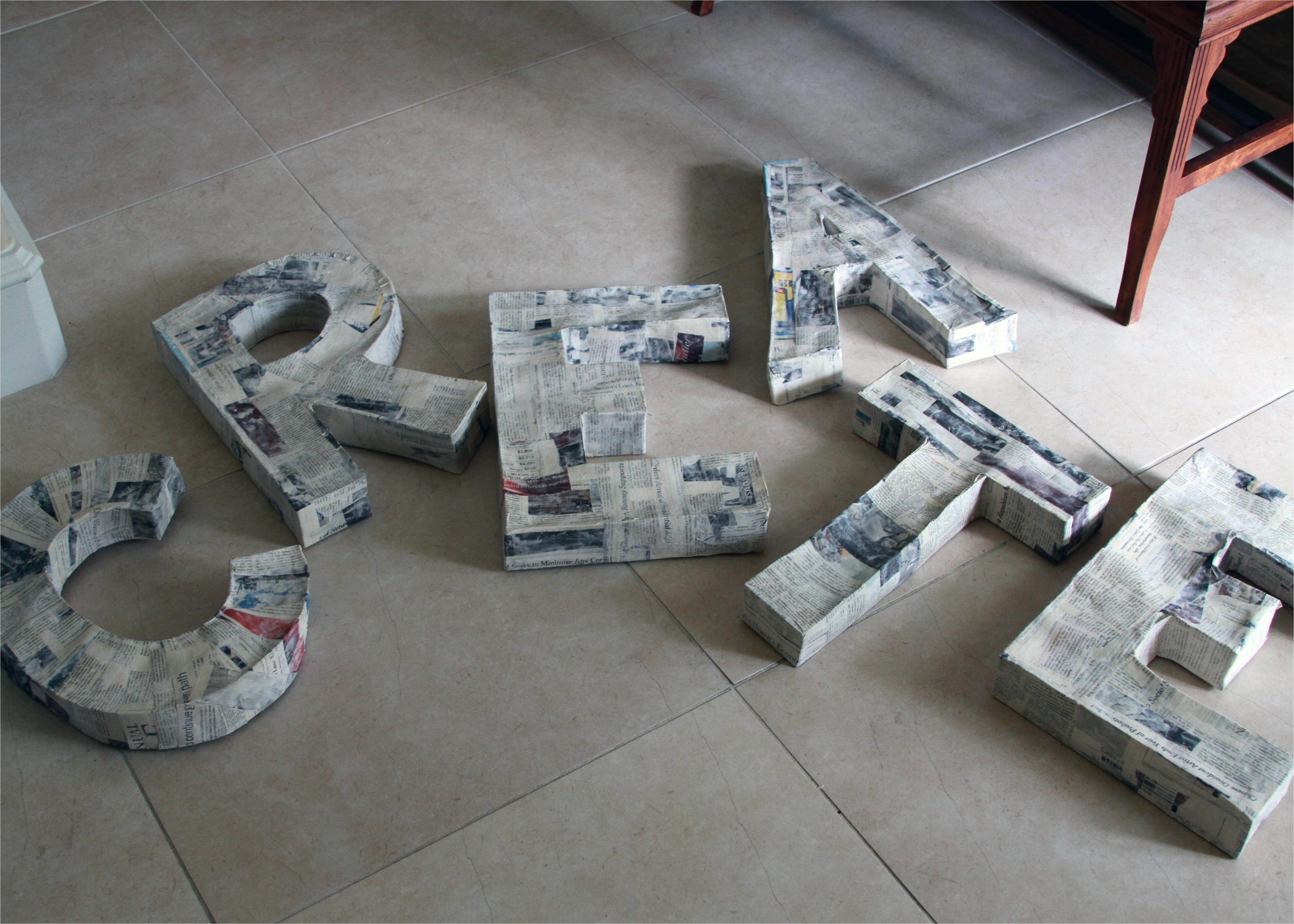 paper mache 3d letters tutorial
