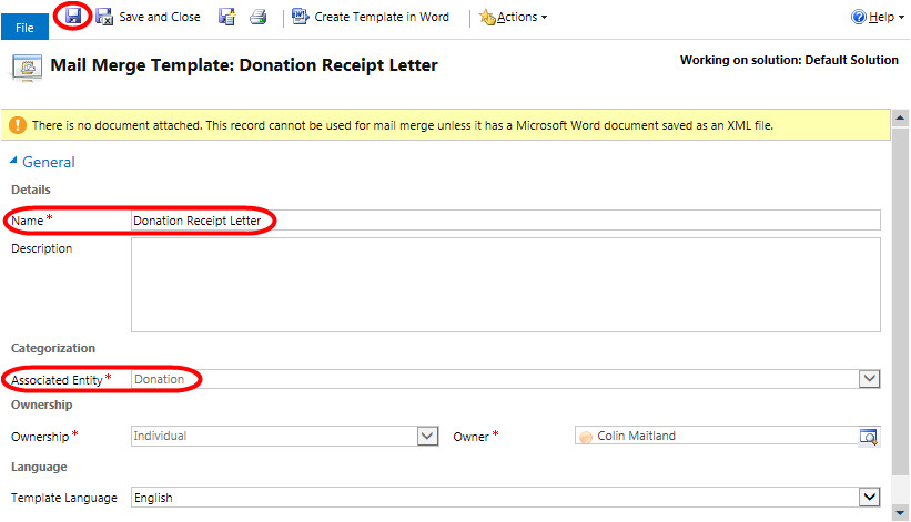 how to create a mail merge template for a custom mail merge enabled entity in microsoft dynamics crm 2013