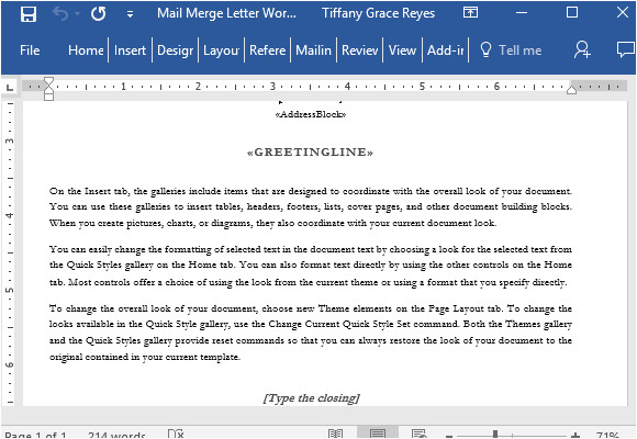 mail merge letter word template