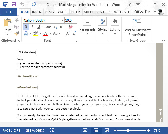 sample mail merge letter for word