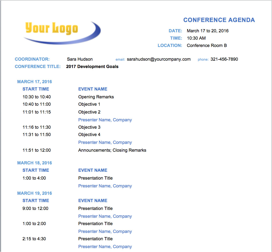 free meeting agenda templates word