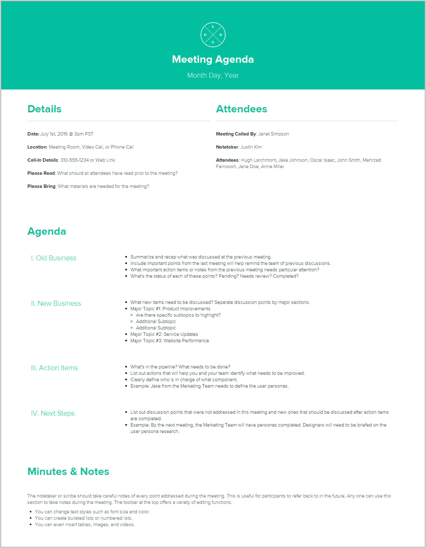 How to Create A Meeting Agenda Template How to Create A Meeting Agenda Xtensio
