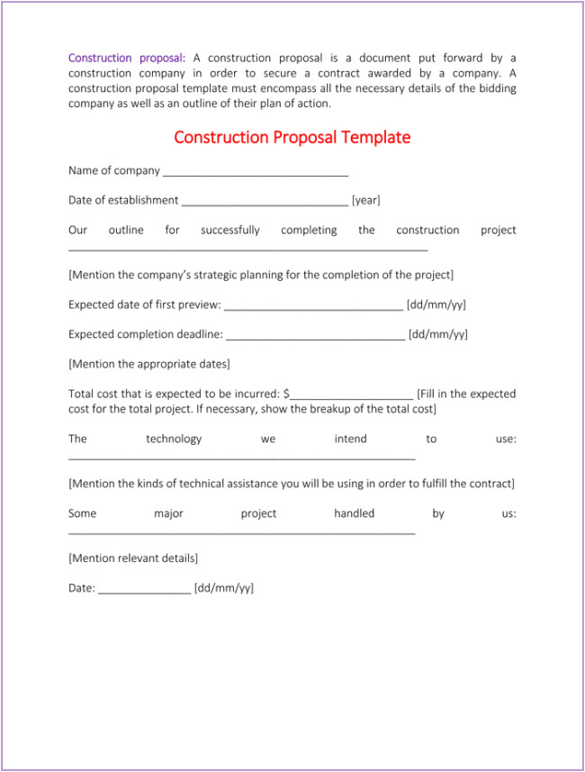construction proposal template 4 best samples