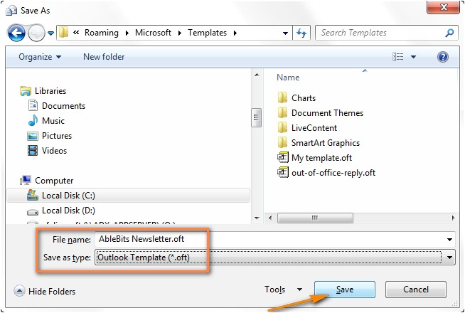 how to save an email template in outlook