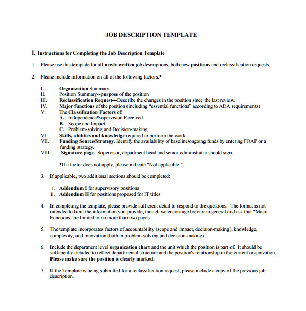 how to create a job description template
