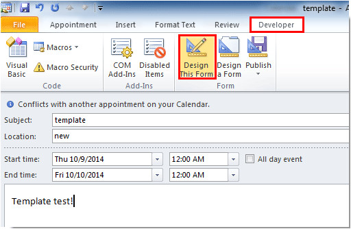 2148 outlook create appointment meeting template