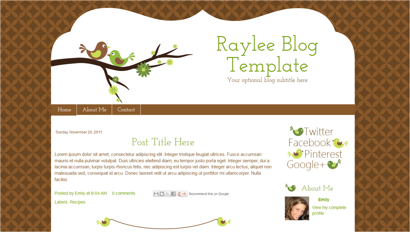 raylee blog template