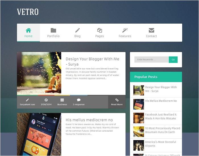 flat vetro magazine blogger template