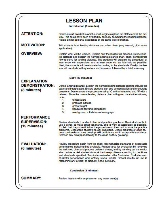 sample printable lesson plan template