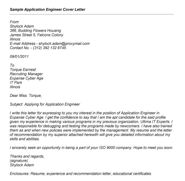 writing a cover letter for a job application examples