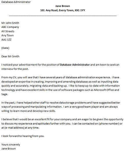 cover letter for a database administrator job