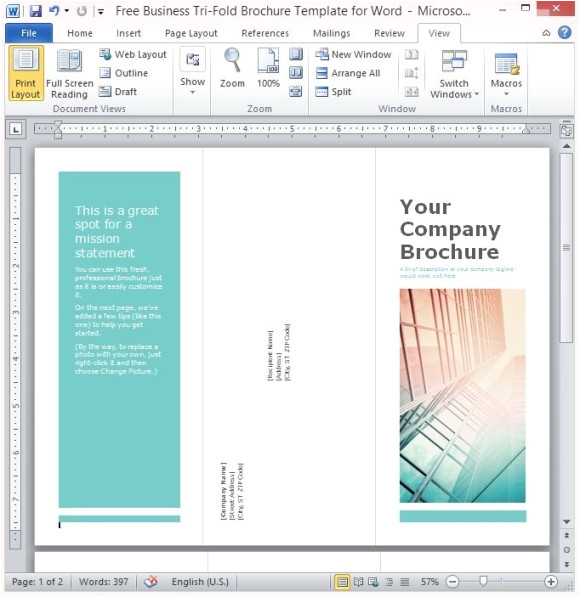 word 2010 brochure template