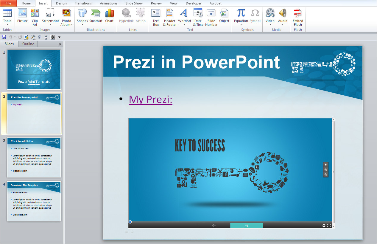 insert prezi into powerpoint no plugins required