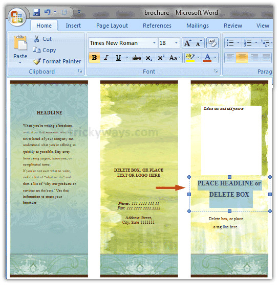 how to create brochure in word 20072010