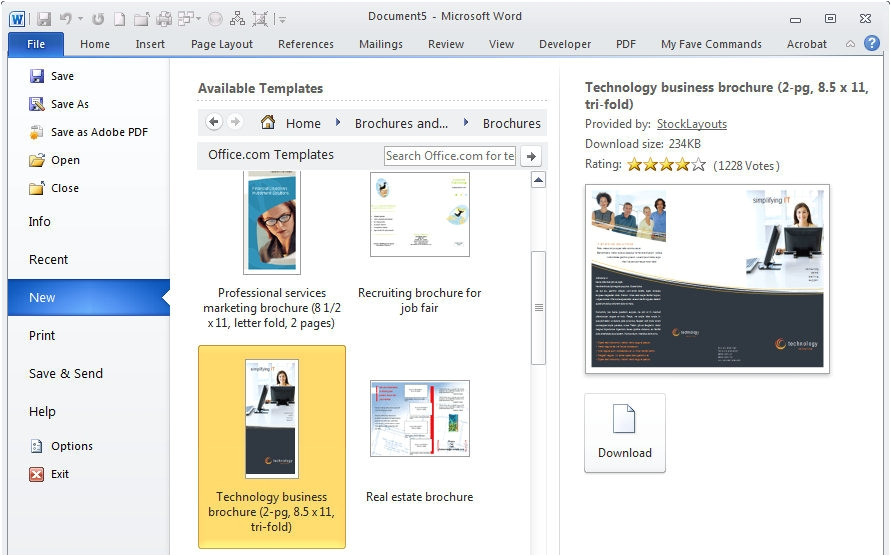 how to get a brochure template on microsoft word 2010