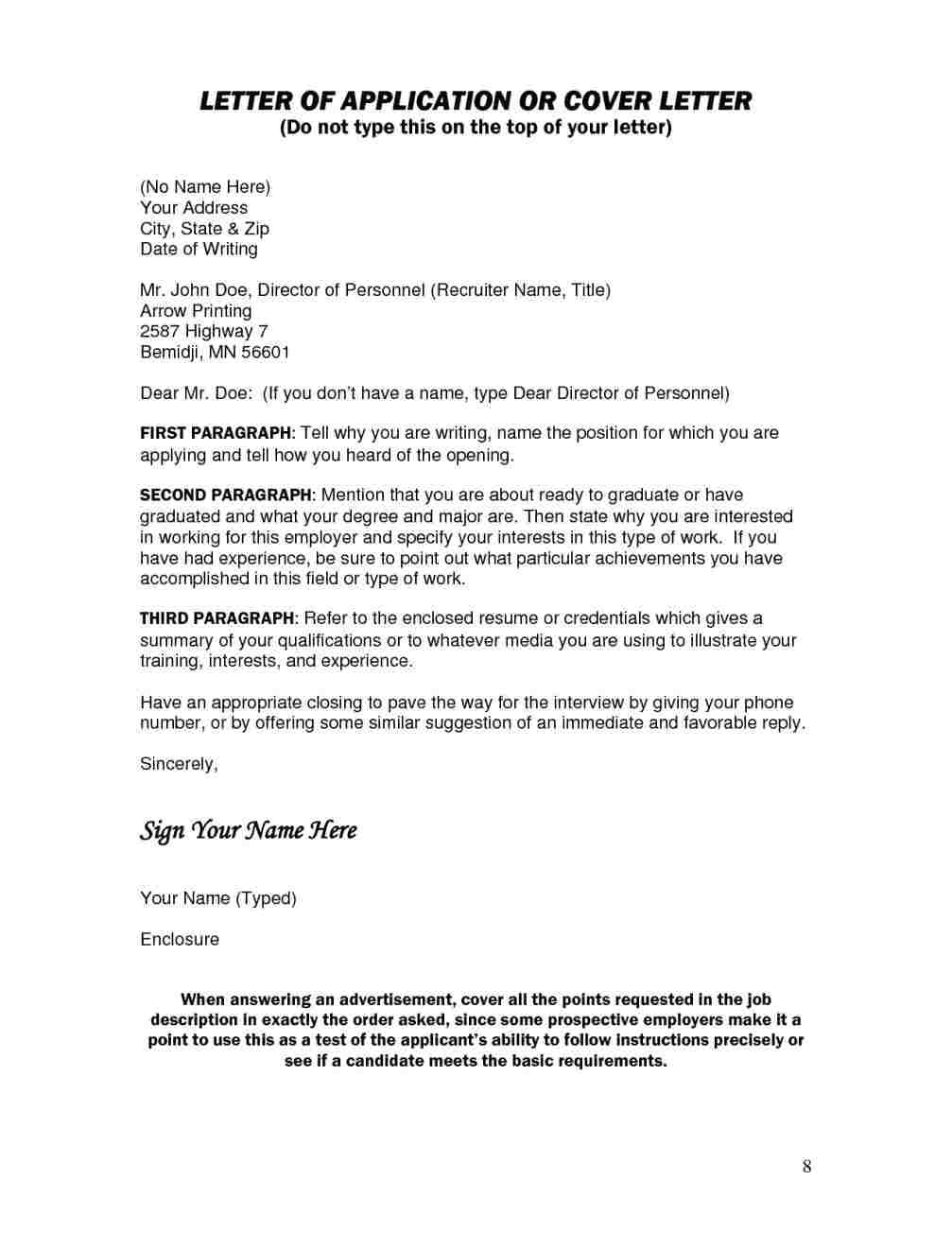 how to title cover letter with no name