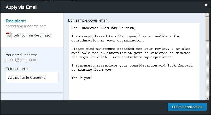 format of mail for sending resume