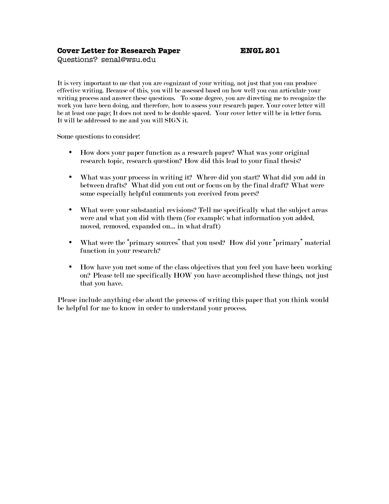 How to Make A Cover Letter for A Paper Cover Letter for Research Paper the Letter Sample